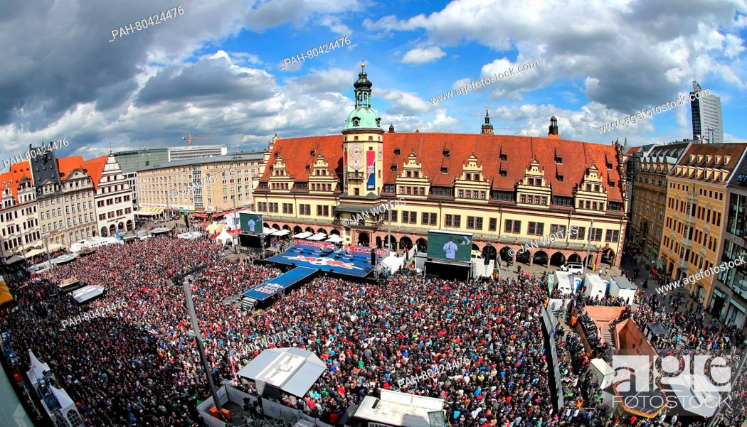 Fans Of Rb Leipzig Celebrating Their Teams Accent To The First Bundesliga On The Market Square In Stock Photo Picture And Rights Managed Image Pic Pah 80424476 Agefotostock