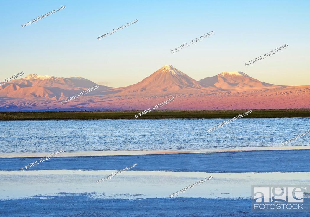 Stock Photo: View over the Laguna Baltinache towards the Volcano Licancabur at sunset, Salar de Atacama, Antofagasta Region, Chile.