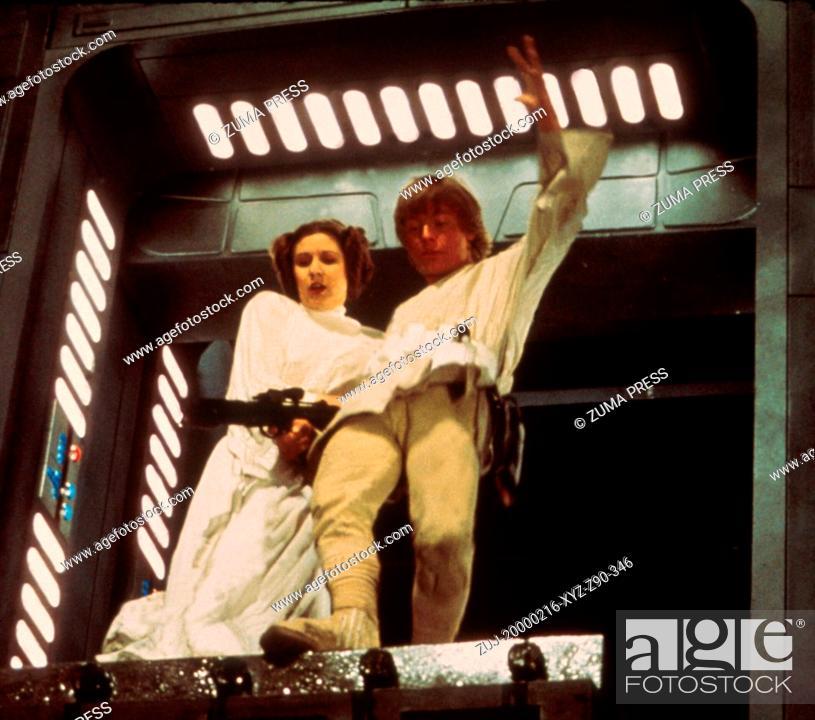 Stock Photo: Feb 16, 2000; Hollywood, California, USA; Actors CARRIE FISHER (Princess Leia) & MARK HAMMILL (Luke Skywalker) in 'Star Wars.