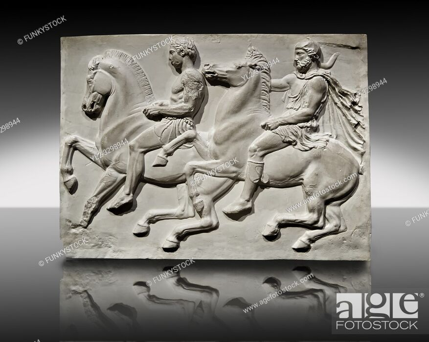 Imagen: Releif Sculptures from the frieze around the Parthenon Block IV. From the Parthenon of the Acropolis Athens. A British Museum Exhibit known as The Elgin Marbles.