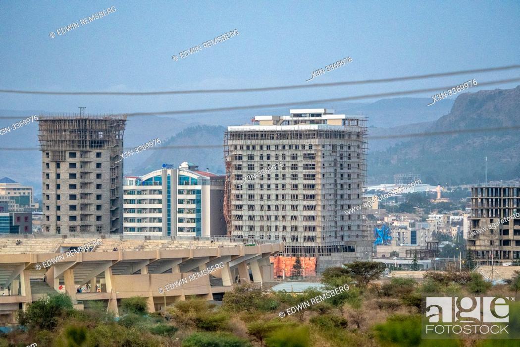 Stock Photo: Buildings under construction, Mekele, Ethiopia. Mekele, Ethiopia.