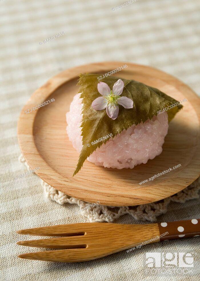 Stock Photo: Sakura mochi (cherry flavored soft sweet rice cake).