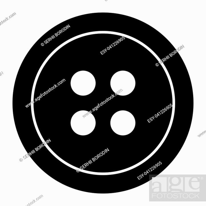 Stock Vector: Clothing button it is the black color icon .