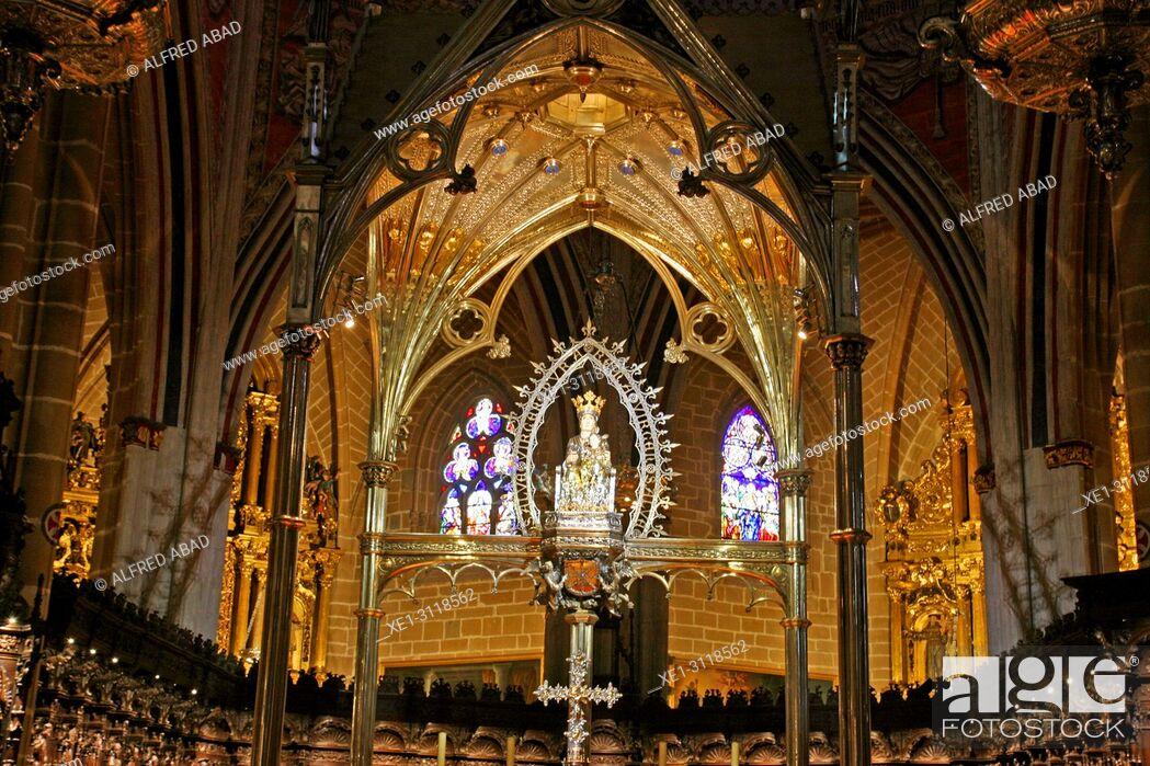 Stock Photo: neo-gothic presbytery, Cathedral of Santa Maria la Real, Pamplona, Navarra, Spain.