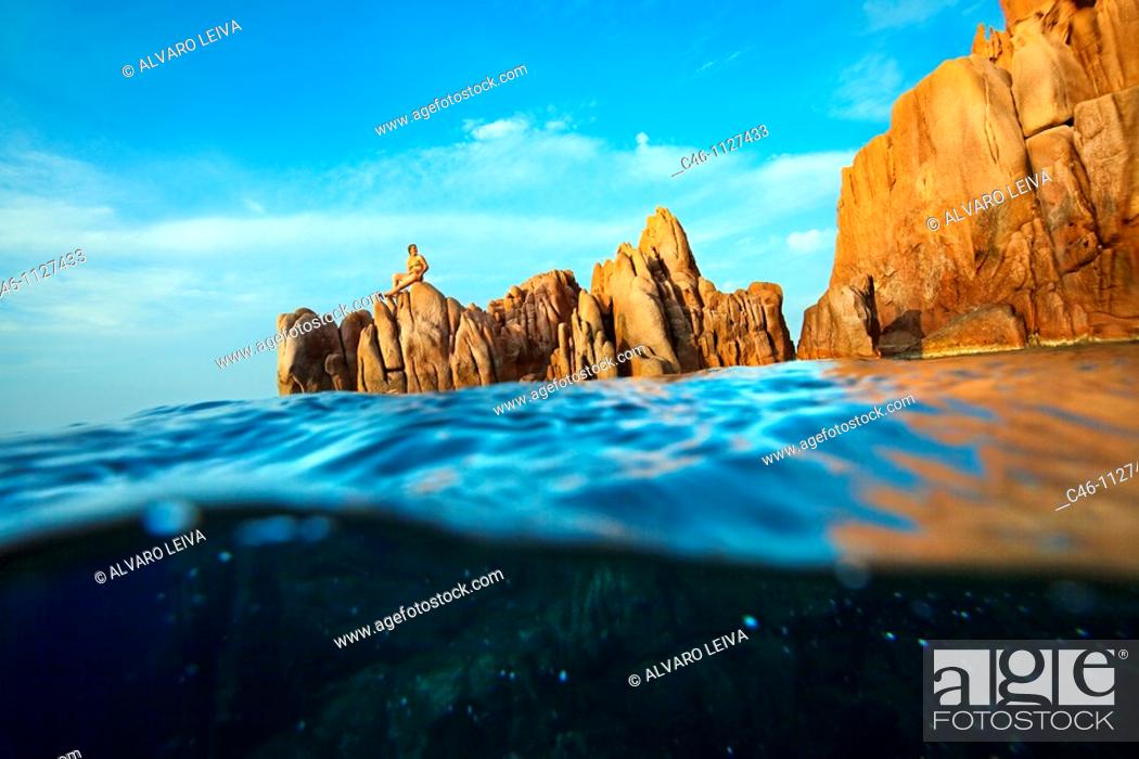 Stock Photo: The Red Rock. Rocce Rosse. Arbatax. Ogliastra Province. Sardinia. Italy.