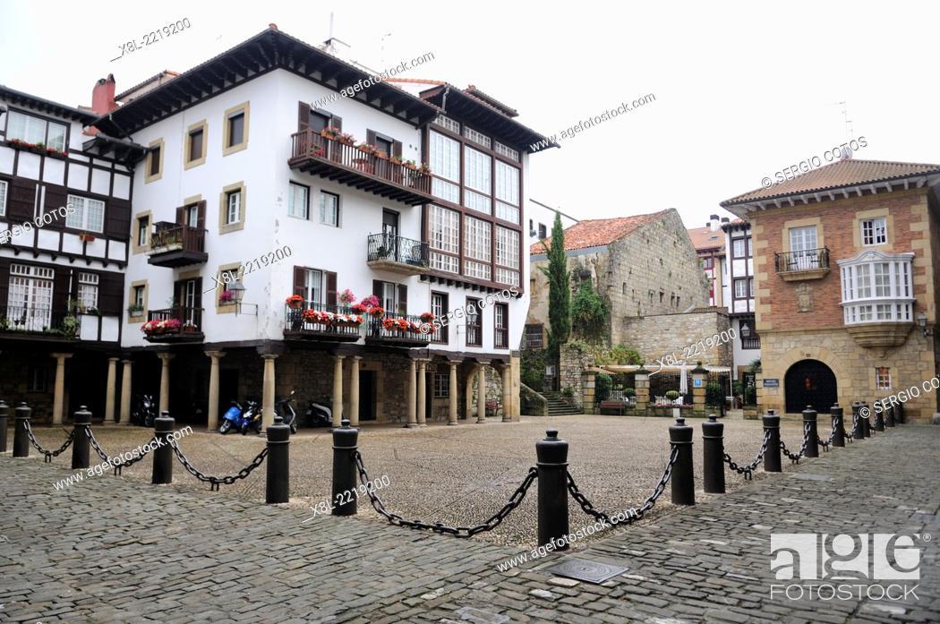 Stock Photo: Plaza de Armas in Fuenterrabia, Guipúzcoa, Basque Country.