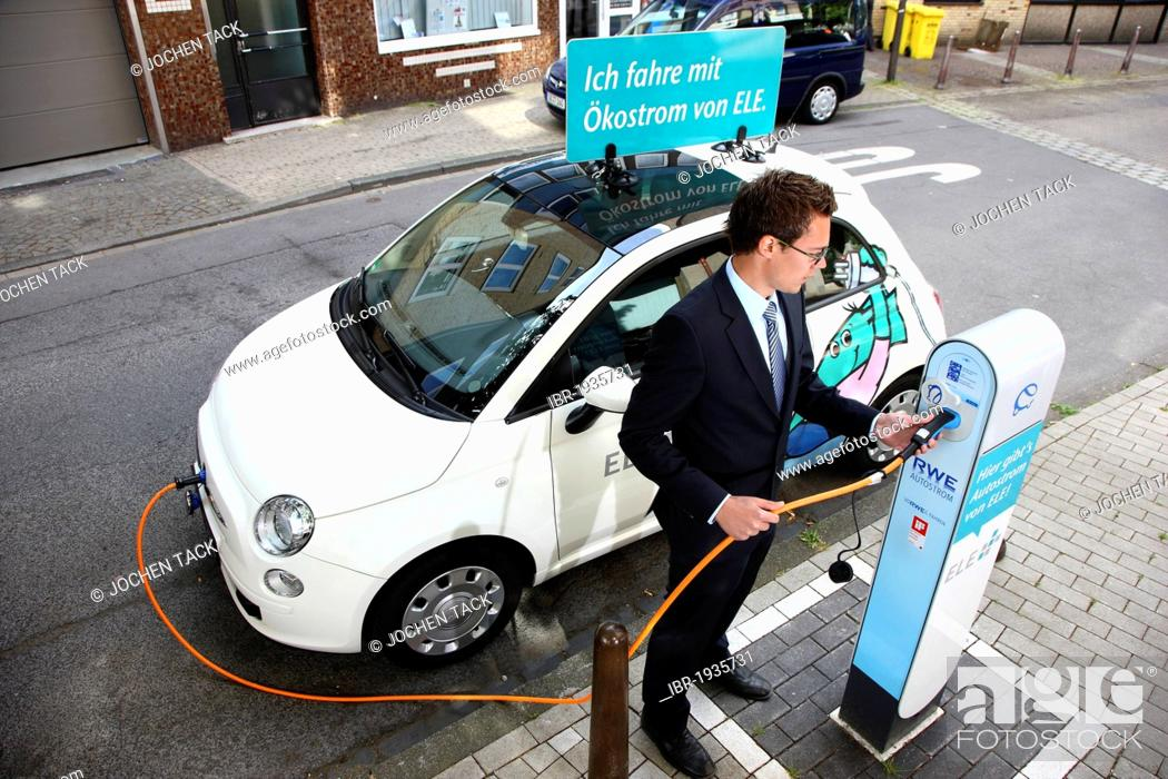 Stock Photo Electric Car Of The Emscher Lippe Energie Gmbh Ele Type Fiat 500 At A Charging Station Gelsenkirchen North Rhine Westphalia Germany