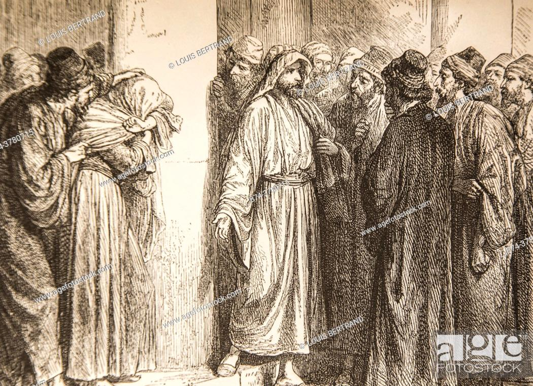 Photo de stock: May he who is without sin throw the first stone at him, life of jesus by ernest renan, drawings by godefroy durand, publisher michel levy 1870.