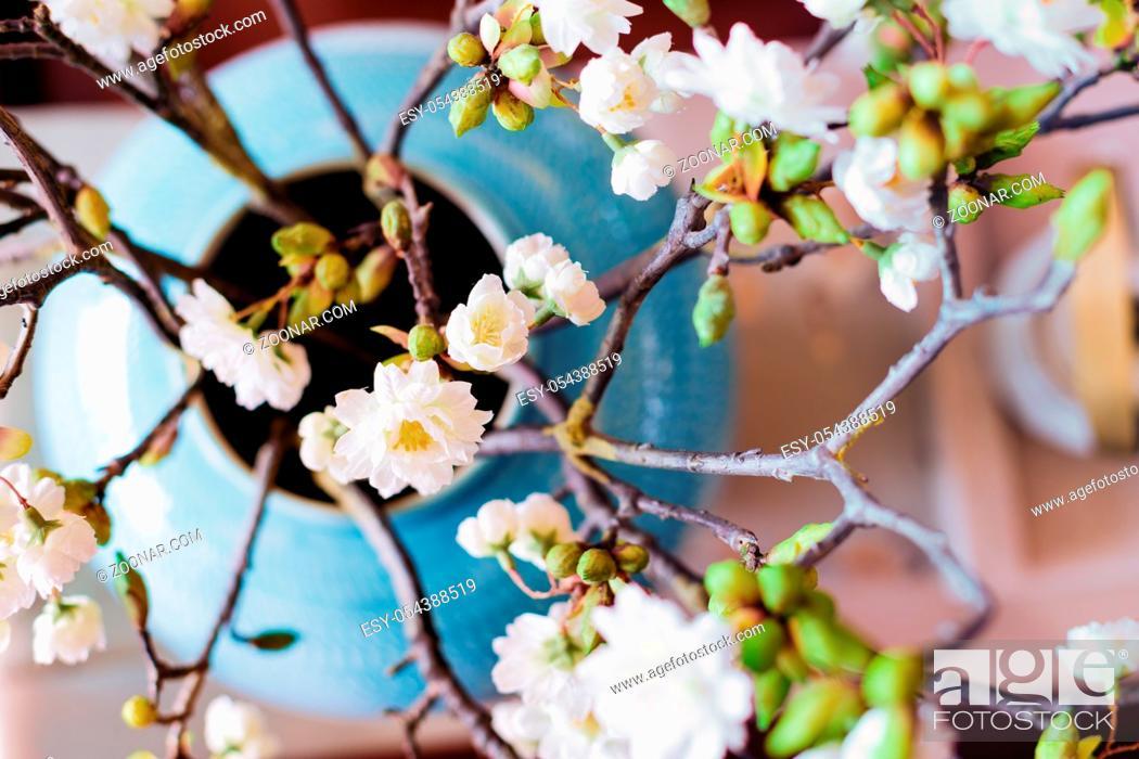 Stock Photo: elegance japanese style tea set on table in modern living room.