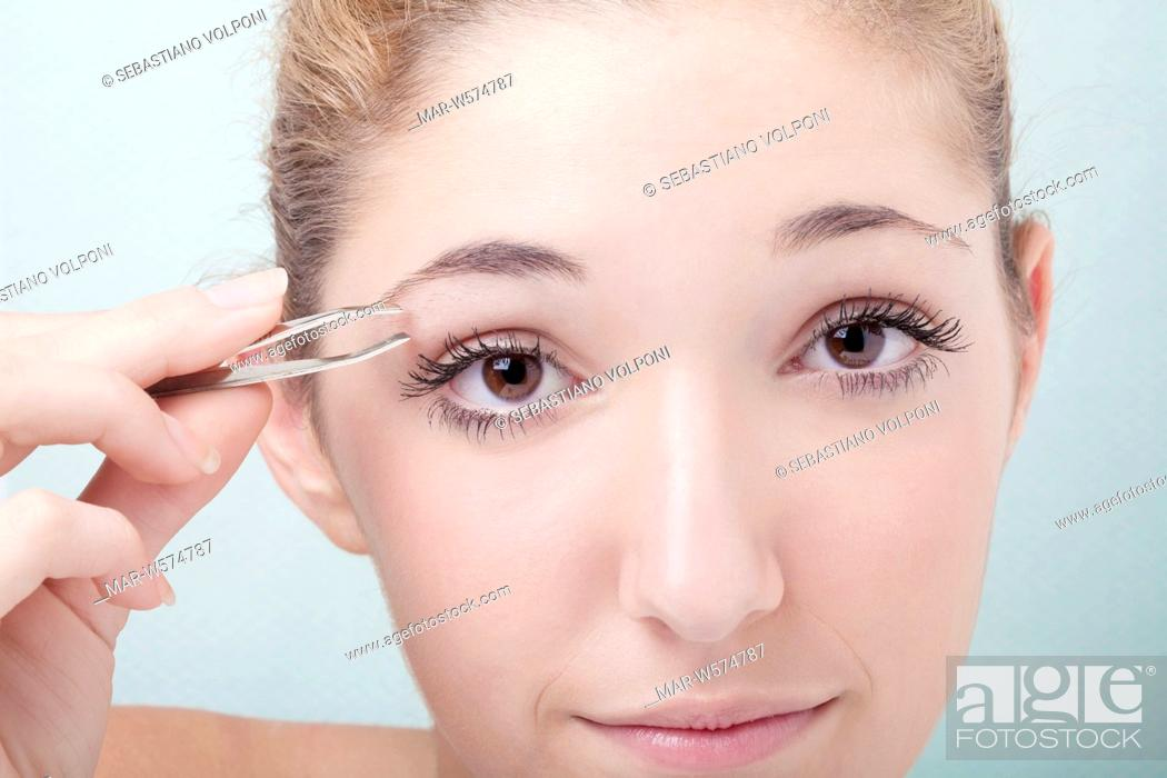 Teenage Girl Shaving Eyebrows Stock Photo Picture And Rights