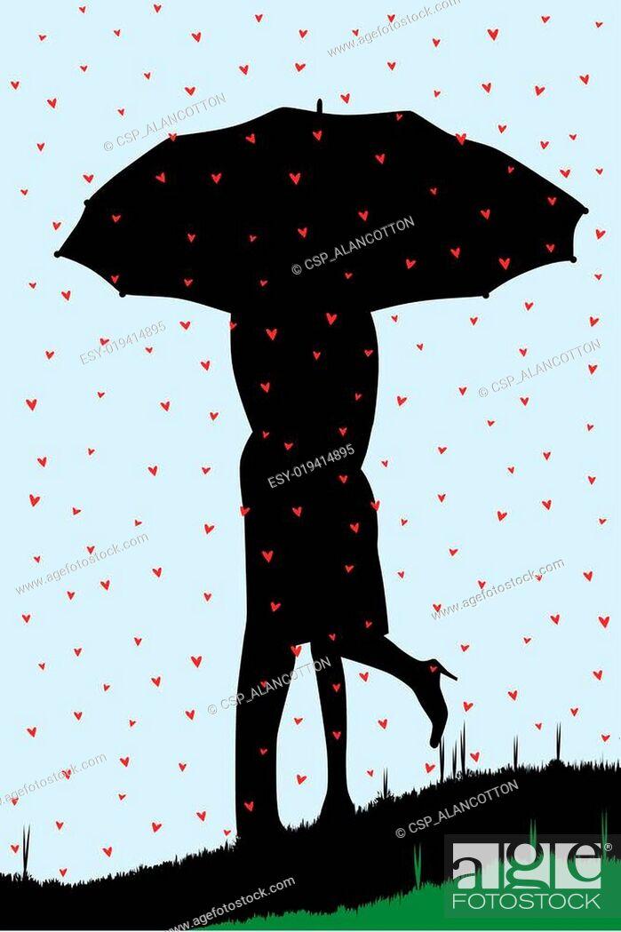 Stock Vector: Raining Hearts.