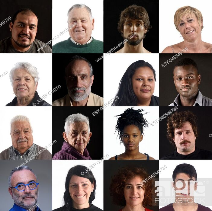 Stock Photo: mosaic of faces of people.