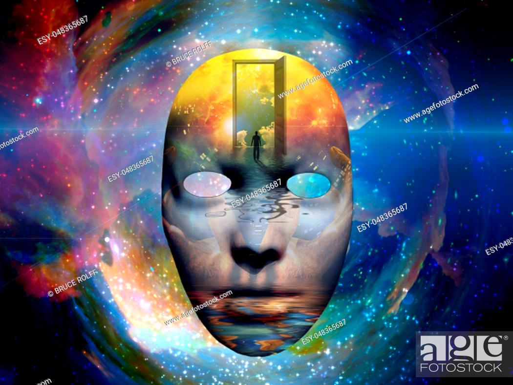 Stock Photo: Mask with the image of man and open door to another world at the seashore. Colorful universe on background.