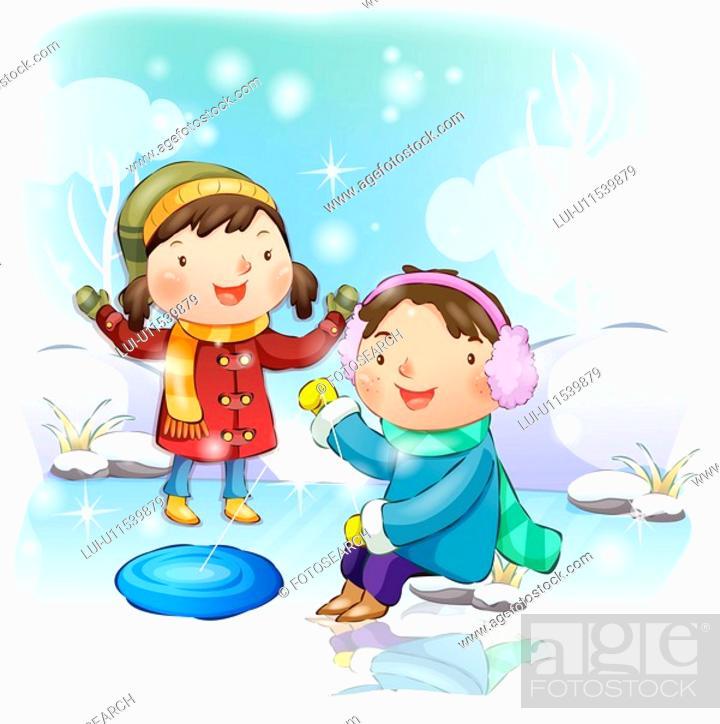 Stock Photo: boy, winter, girl, chirstmas, snow, child.