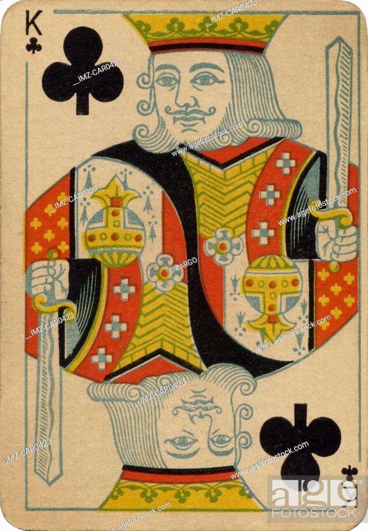 Stock Photo: King of Clubs vintage playing card.