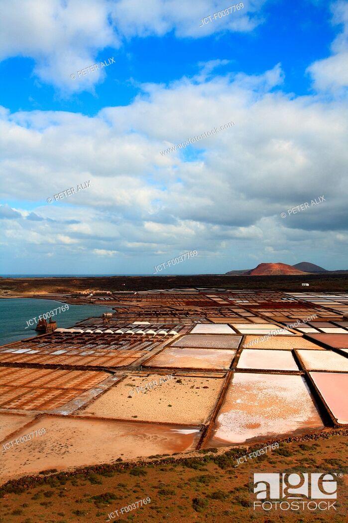 Stock Photo: Spain, Canary islands, Lanzarote, Salinas del Janubio.