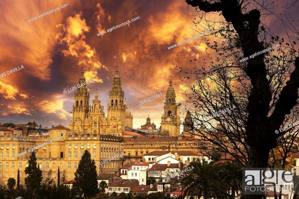 Stock Photo: santiago de compostela panoramic with the cathedral from La alameda garden. galicia. spain.