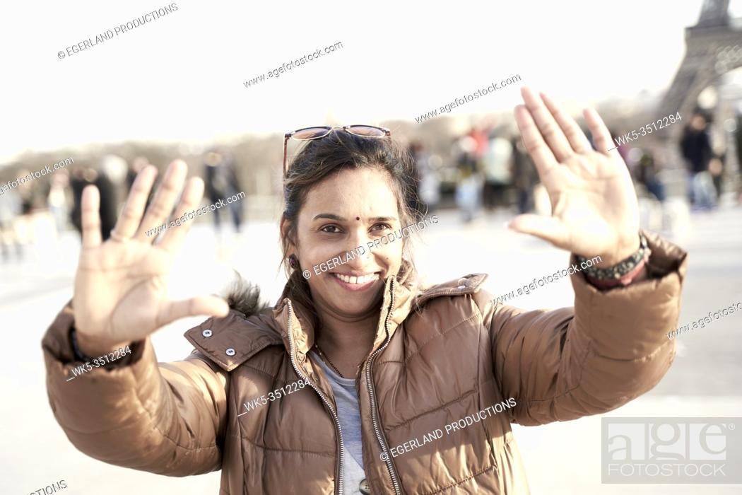 Stock Photo: woman showing palms.