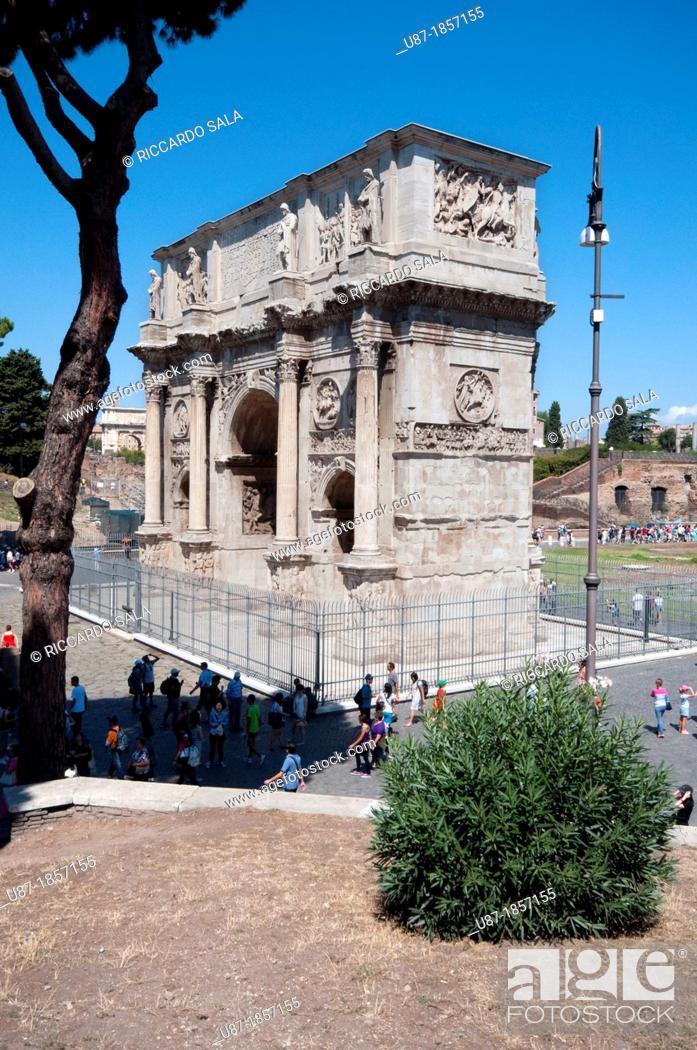 Stock Photo: Italy, Lazio, Rome, Arco Di Constantino, Arch of Constantine.