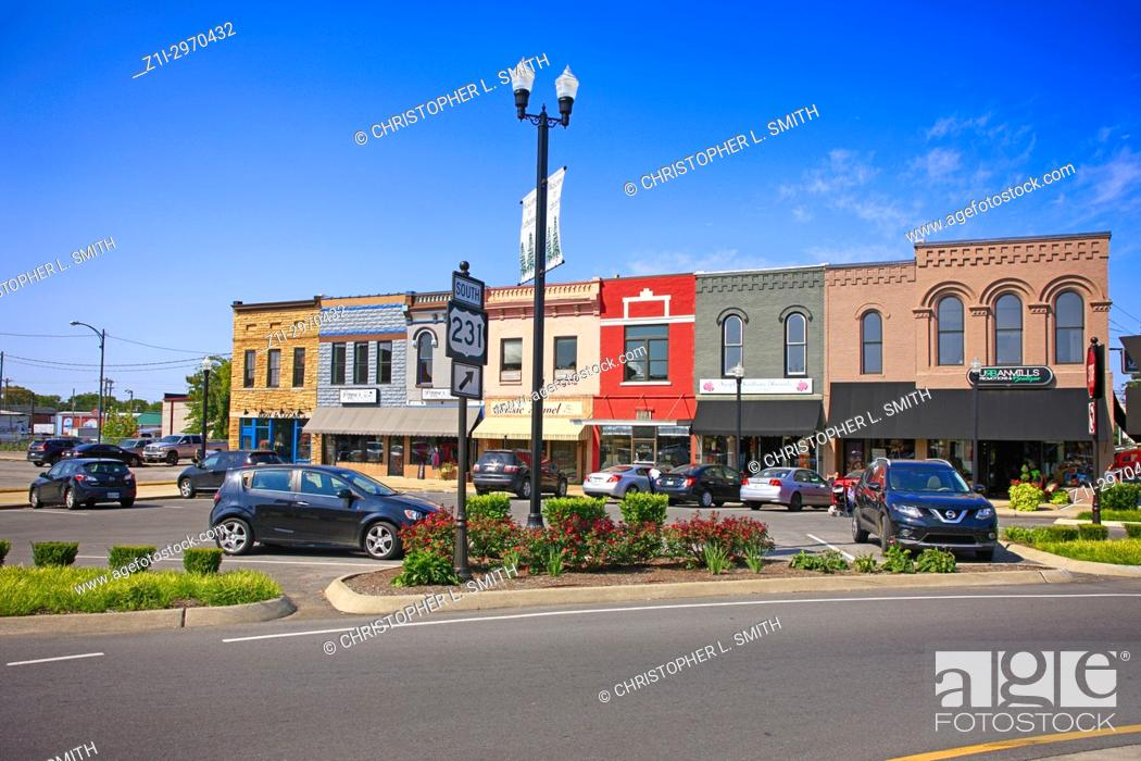 Stock Photo: Stores in the Public Square in historic downtown Lebanon TN, USA.