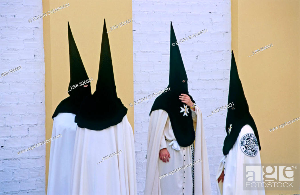 Stock Photo: Penitents in Holy Week procession. Seville. Spain.