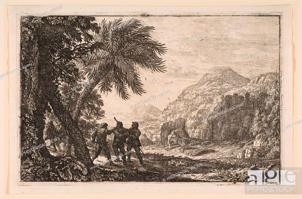Stock Photo: Landscape with Brigands. Artist: Claude Lorrain (Claude Gellée) (French, Chamagne 1604/5?-1682 Rome); Date: 1633; Medium: Etching; fifth state of nine.
