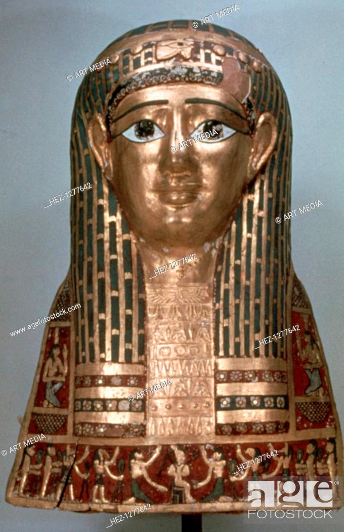 Stock Photo: Mummy mask of a lady, late period, 1085-332 BC. Found in the collection of the The Oriental Institute of the University of Chicago.