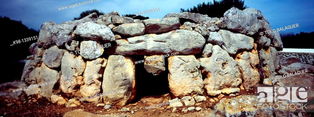 Stock Photo: Biniac-l'Argentina Naveta of Menorca Biosphere Reserve Balearic Islands Spain.