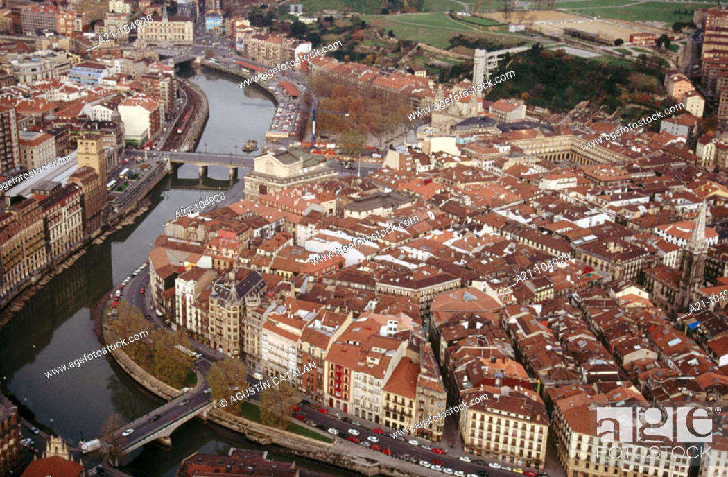 Stock Photo: Old town and Nervión River, Bilbao, Basque Country, Spain.