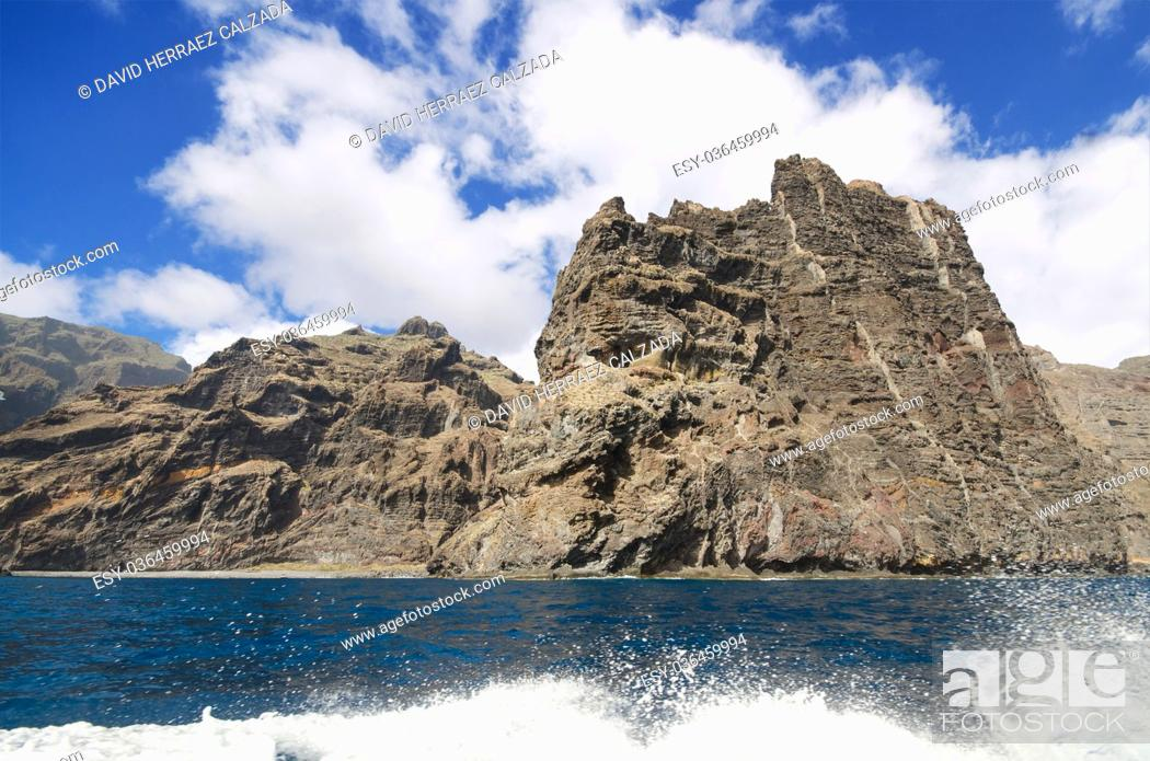 Stock Photo: Scenic view of famous cliffs Los Gigantes, in Tenerife, Canary islands, Spain.
