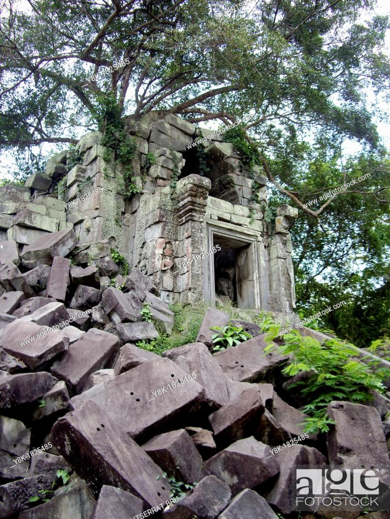 Stock Photo: Beng Mealea temple with collapsed stone blocks and tree roots overtaking the building in Cambodia.