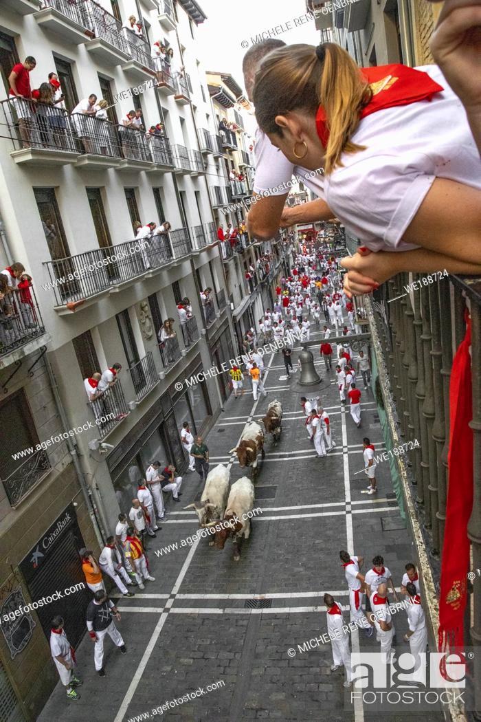 Stock Photo: San Fermin festival, Pamplona, Spain July 2019.