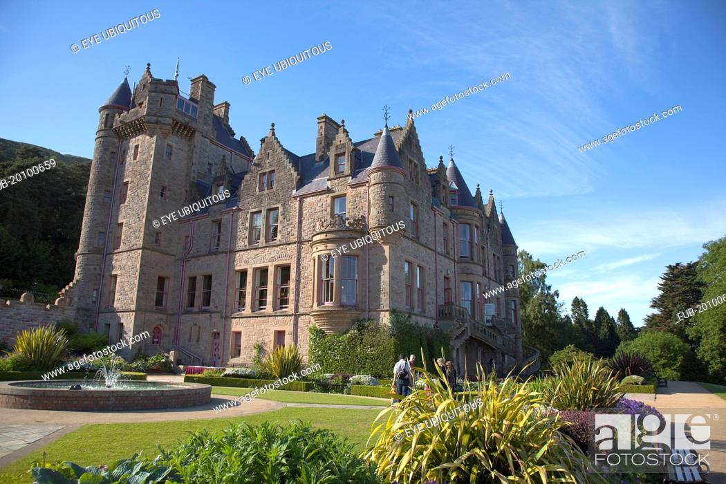 Stock Photo: County Antrim Belfast Castle with ornate gardens and grounds over looking the city and Lough.