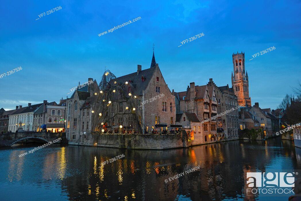 Stock Photo: Belfort Tower And Dijver River, Brugge, Belgium.