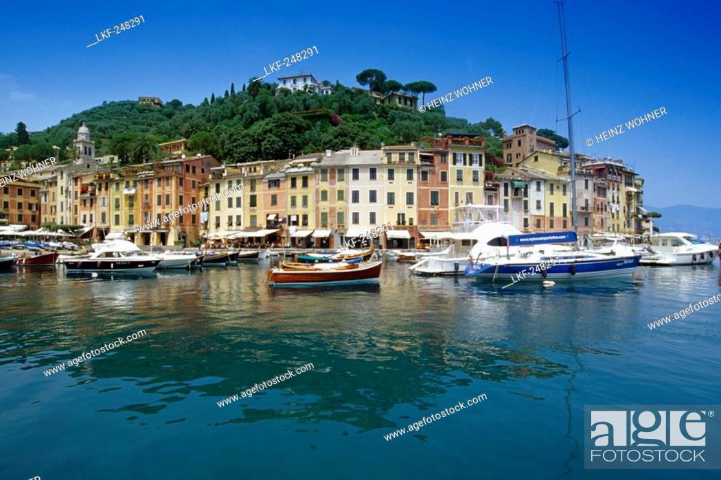 Stock Photo: Motor boats at marina under blue sky, Portofino, Liguria, Italian Riviera, Italy, Europe.