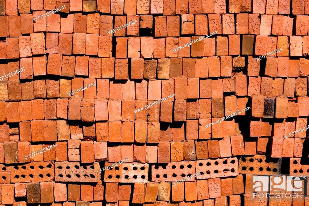 Stock Photo: Block, Full Frame, Close-Up, Brick, Arrangement.