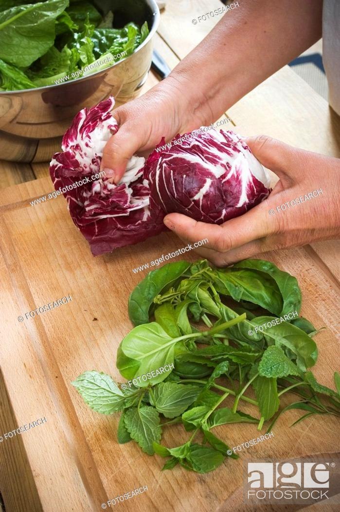 Stock Photo: Cabbage, Cutting Board, Foodstuff, Fresh, Green Vegetables.