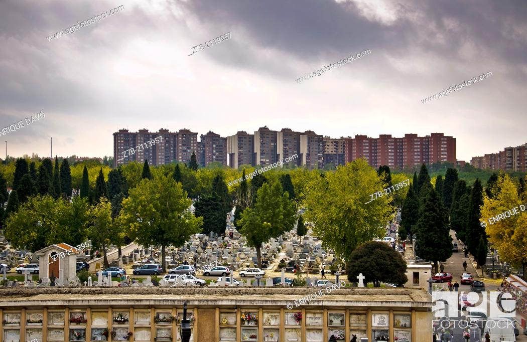 Stock Photo: View from a hill of the Almudena cemetery, Madrid, Spain.