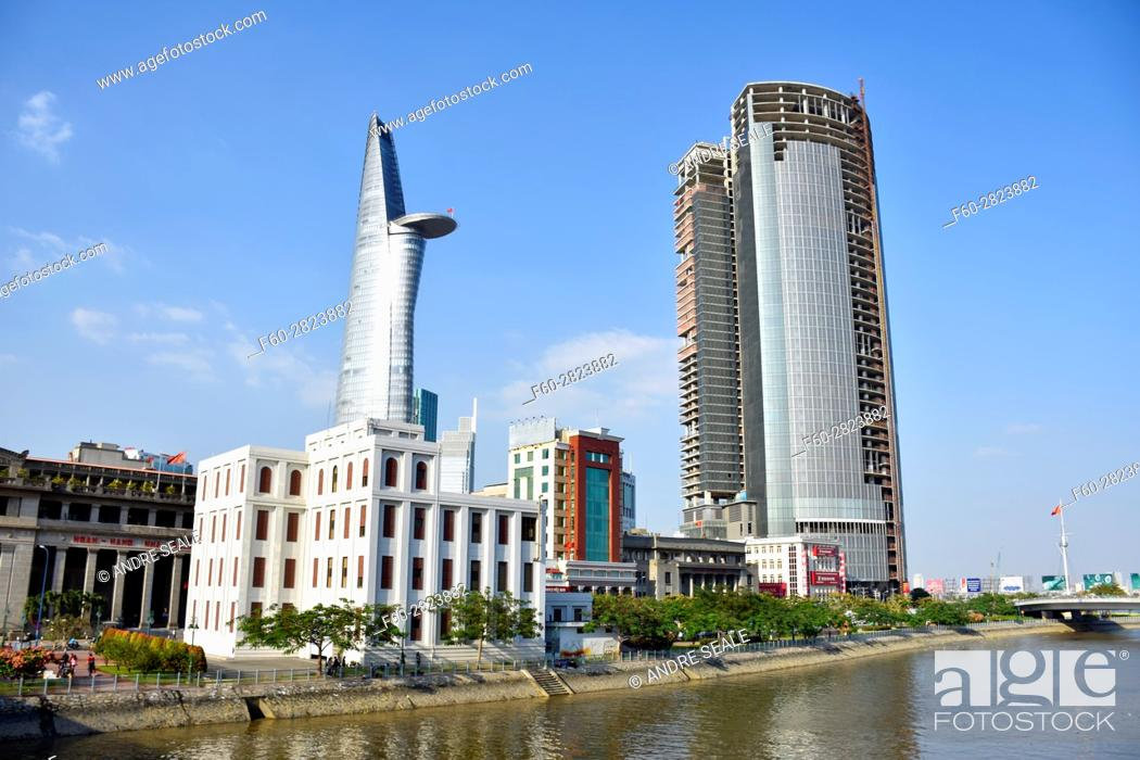 Stock Photo: Bitexco Financial Tower viewed from the Saigon River, Ho Chi Minh City, Vietnam.