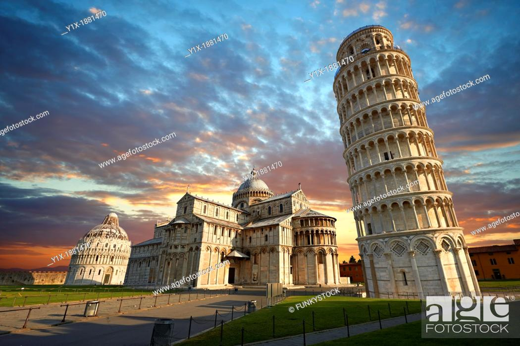 Stock Photo: The Duomo & Leaning Tower of Pisa, Italy.