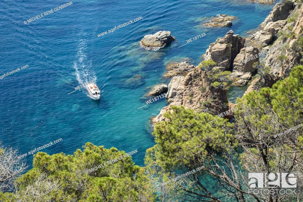 Stock Photo: Sail Boats and yachts along the coast of Spain, Europe, Catalonia, Costa Brava Coast, .