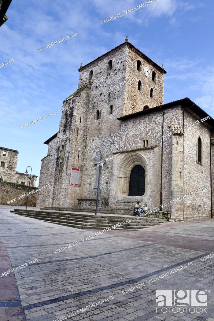 Stock Photo: Santa Maria del Conceyu church in LLanes. Asturias. Spain.
