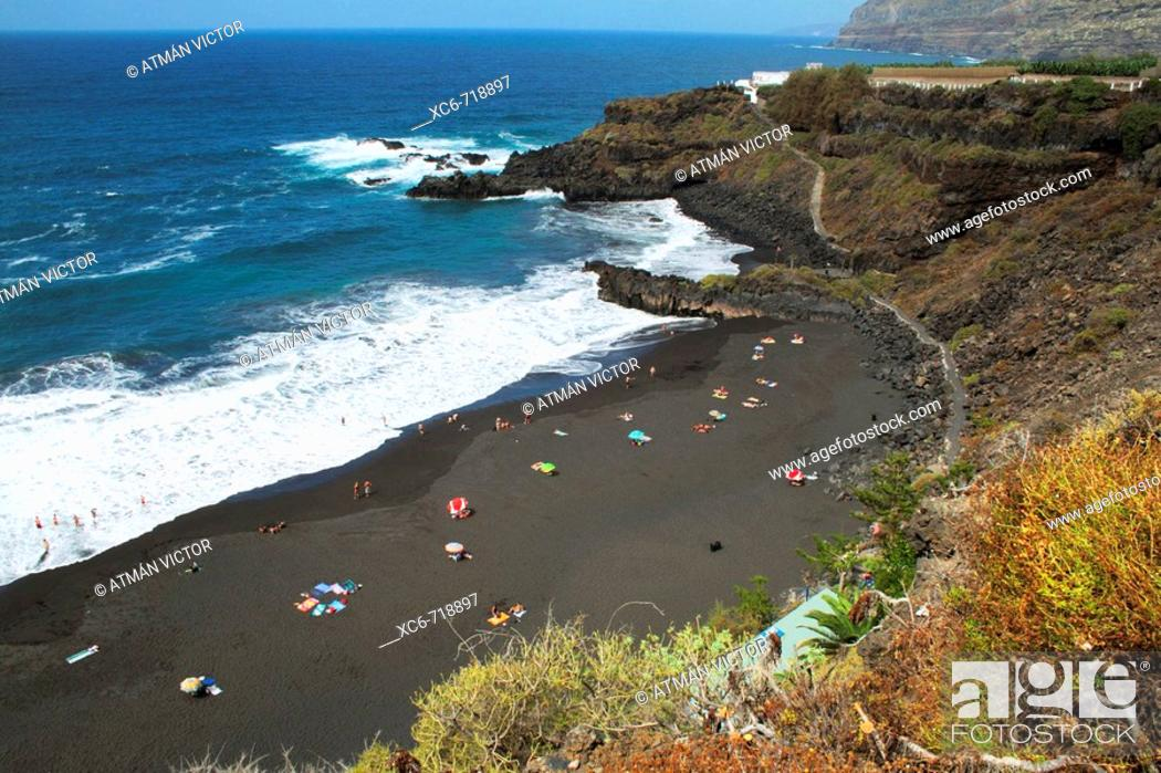 Stock Photo: Beach, Puerto de la Cruz, Tenerife. Canary Islands, Spain.
