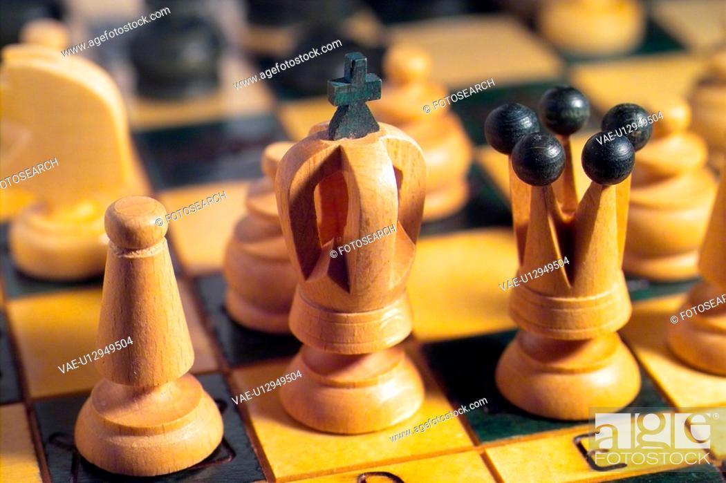 Stock Photo: chess board, bishop, checker pattern, board game, black colour, object.