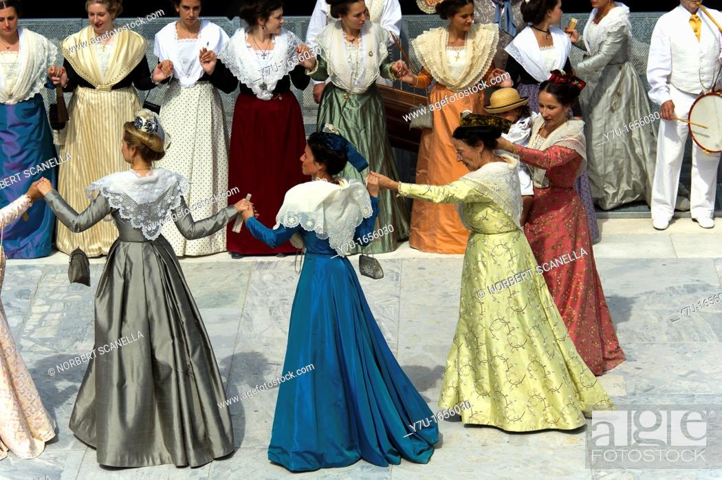 Stock Photo: France, Bouches du Rhone 13, Arles, party costume, folk dance.