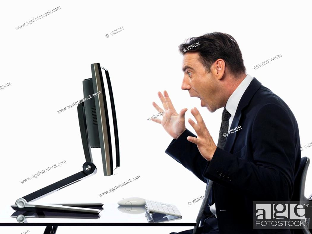 Stock Photo: relationship between a caucasian man and a computer display monitor on isolated white background expressing system failure concept.