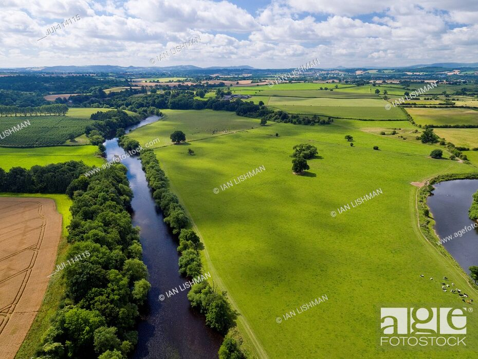 Stock Photo: Aerial View Of Green English Farm Fields In Herefordshire.
