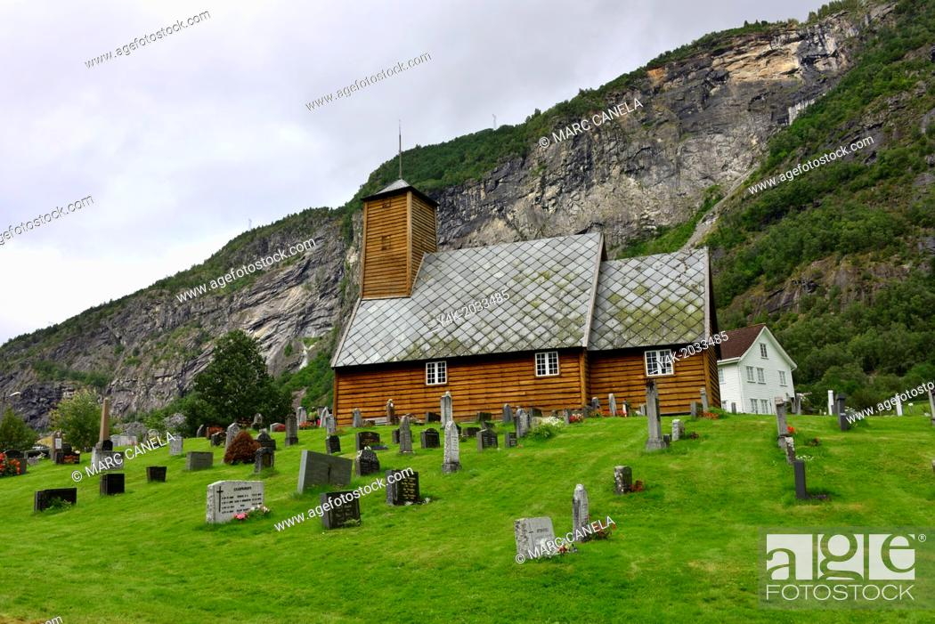 Stock Photo: Europe, Norway, gaupne, The old church of Gaupne is a beautiful example of old Lutheran style with its ornamented bench sides, tendril paintings on the walls.