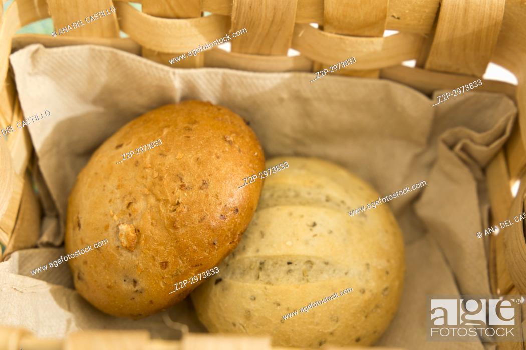 Stock Photo: Bread in basket, Spain.