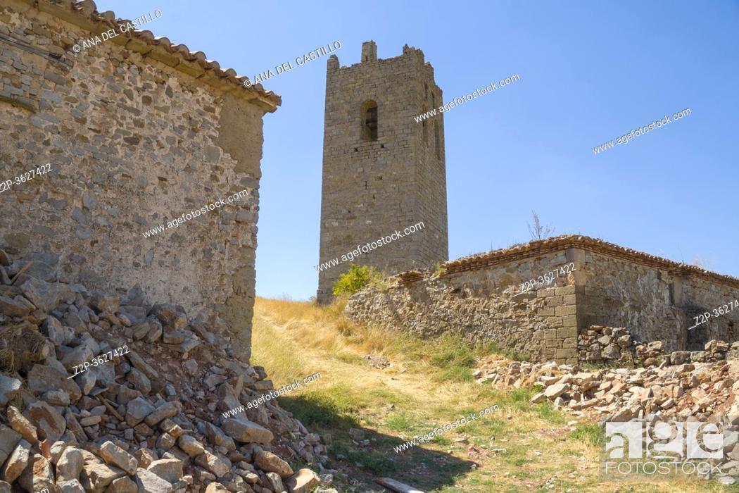 Stock Photo: Medieval tower in Ababuj villaje in Teruel mountains Aragon Spain.